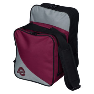 Compact one ball bowling bag black cherry silver